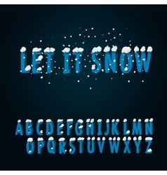 Retro type font with snow vector
