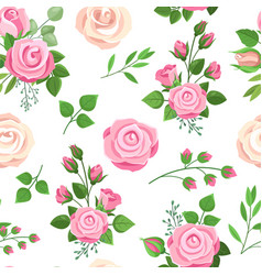 roses seamless pattern red white and pink roses vector image