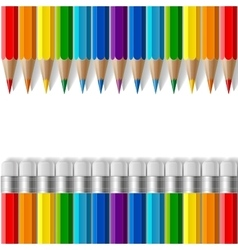 Rows of rainbow colored pencils with erasers and vector image
