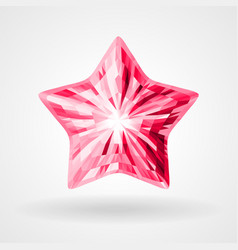 Ruby five pointed star in triangular design vector