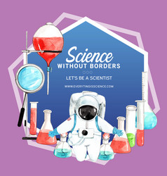 Science wreath design with laboratory supplies vector