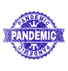 Scratched textured pandemic stamp seal with ribbon vector
