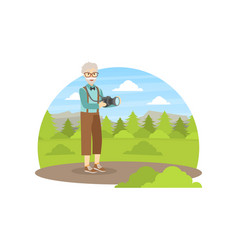 senior man photographer taking picture in nature vector image