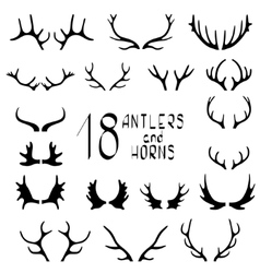Set of 18 deer antlers and horns vector