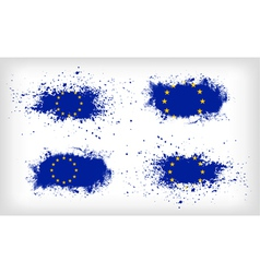 Set of four grunge ink spattered european union vector