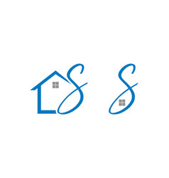 set of home initial letter s logo design vector image