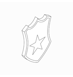 Shield with star icon isometric 3d style vector