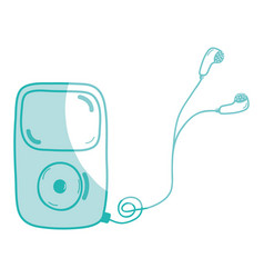 Silhouette mp3 player with headphones to listen vector