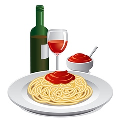 spaghett and sauce vector image