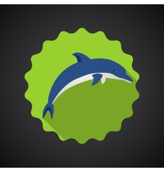 Summer Travel Sea Dolphin flat icon vector