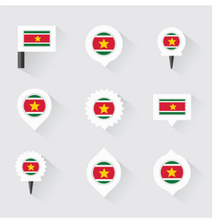 Suriname flag and pins for infographic and map vector