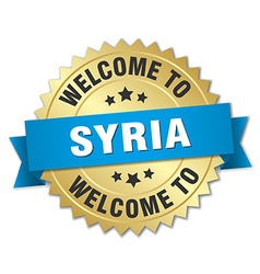 Syria 3d gold badge with blue ribbon vector