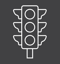 Traffic light line icon stoplight and navigation vector