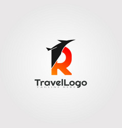 Travel agent logo design with initials r letter vector