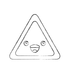Triangle signal kawaii character vector