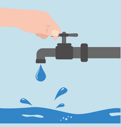 turn off water with man s hand isolated on vector image