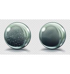 Two big gray glass spheres vector image
