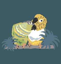 two cute parrots enjoy their time together green vector image