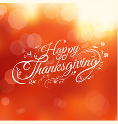 Typography happy thanksgiving autumn blur vector