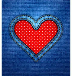 Valentine jeans heart frame with polka dots vector image
