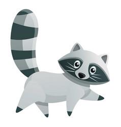 Walking raccoon icon cartoon style vector