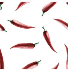 Watercolor chilli pepper seamless pattern vector