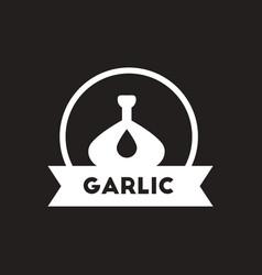 White icon on black background garlic vector