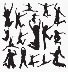woman jumping silhouettes vector image