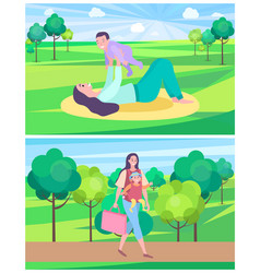 Woman playing with kid laying on mat in park lawn vector