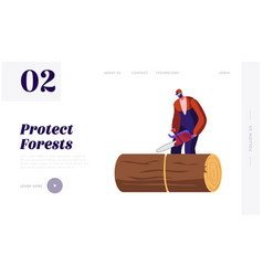Wood industry worker with chainsaw working website vector