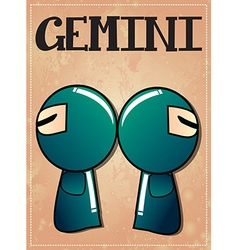 Zodiac sign Gemini with cute black ninja character vector