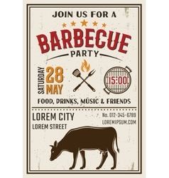 Barbecue Party Retro Style Poster vector image vector image