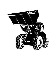 Front end loader digger excavator retro vector