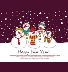 Night new year group snowmen greeting card vector
