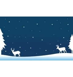 Silhouette of deer on the hill winter vector image