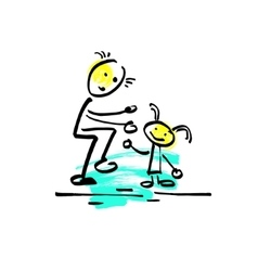 sketch doodle human stick figure dad playing with vector image