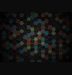 black and colorful hexagons tech pattern design vector image