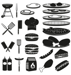 black white bbq outdoors 23 element silhouette set vector image