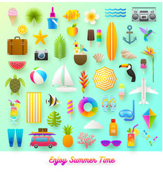 set of summer vacation and travel items vector image