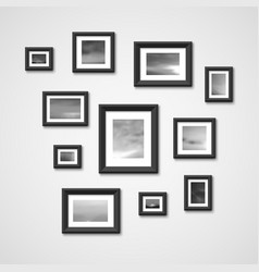 picture frames with nature photos on wall vector image vector image
