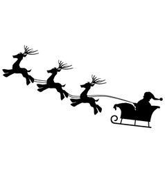 Santa with gift bag and reindeer sled Christmas vector image