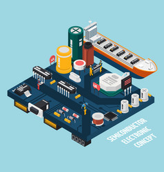 semiconductor electronic components seaport vector image