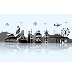 Silhouette of Tokyo city in JapanJapan landmarks vector image