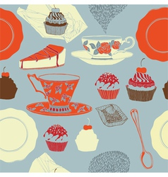 Tea and cakes Seamless pattern vector image