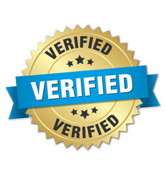 verified 3d gold badge with blue ribbon vector image vector image