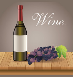 wine bottle grape wooden decoration vector image