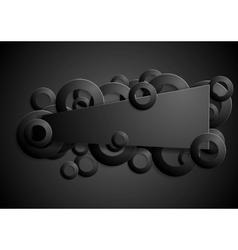 Dark black sticker design with rings vector image vector image