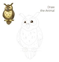 Draw the forest animal bird owl cartoon vector image