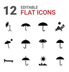 12 umbrella icons vector image