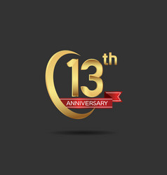 13 years anniversary logo style with swoosh ring vector